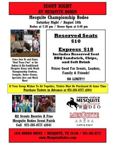 Scout Night at Mesquite Championship Rodeo August 2018